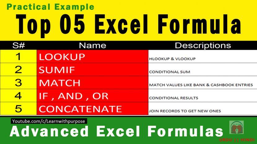 top 5 excel formulas my online lessons