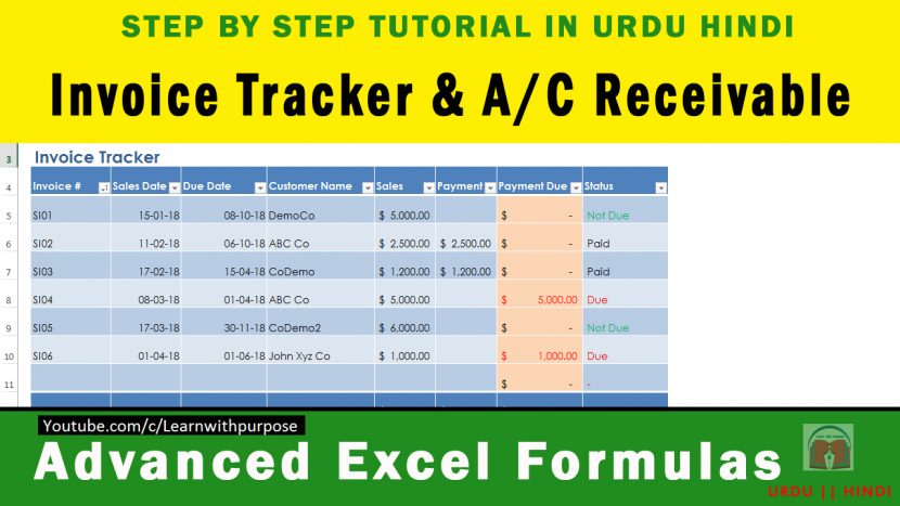 How To Create Invoice Tracker Receivable Software In Excel Urdu - Invoice tracking software